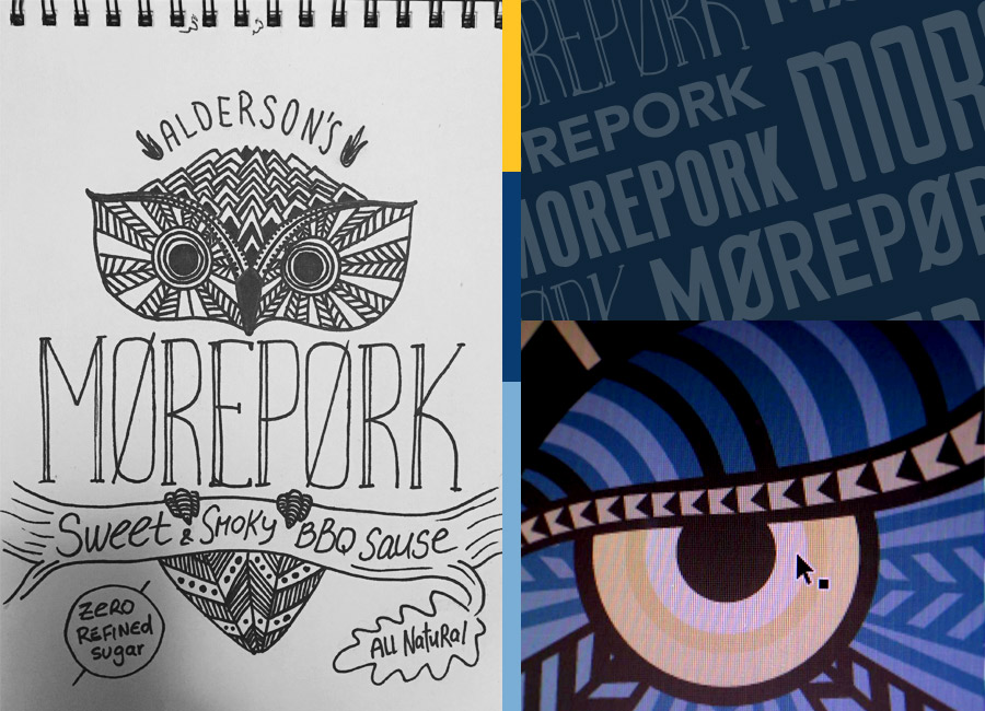 Spasm Studio, Morepork BBQ sauce, packaging design, illustration, Alderson's sauces